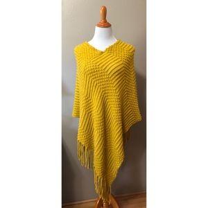 Fall boho mustard poncho